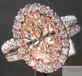 Diamond Halo Ring: 2.20ct K, Faint Brown VS1 Oval Shape GIA Split Shank Halo R5198