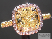 Yellow Diamond Ring: 1.60ct Fancy Light Yellow VS2 Cushion Cut GIA Pink Diamond Halo R5197