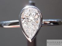 SOLD....Colorless Diamond Ring: .54ct D SI1 Pear Shape GIA Platinum Bezel Set Ring R5174