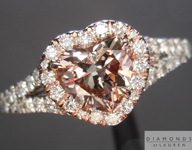 Diamond Halo Ring: .89ct Fancy Pinkish Brown I1 Heart Shape GIA Split Shank R5105