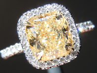 Yellow Diamond Ring: 2.02ct U-V VS2 Cushion Cut GIA Hand Forged Halo R5189