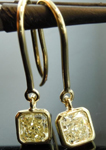 SOLD.... Yellow Diamond Earrings: 1.28cts Fancy Light Yellow Radiant Cut Diamond Dangle Earrings R5112