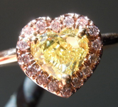 Yellow Diamond Ring: .77ct Fancy Yellow VVS2 Heart Shape GIA Pink Diamond Halo R5204