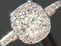 Diamond Ring: .80ct J SI1 Cushion Modified Brilliant GIA Hand Forged Halo R5211