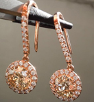 Brown Diamond Earrings: 2.35cts Fancy Yellowish Brown Round Brilliant Diamond Halo Earrings R5213