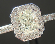Diamond Ring: .72ct J SI1  Branded Original Radiant Cut Diamond GIA Hand Forged Halo R5067