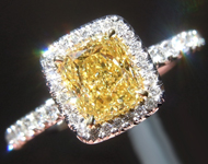 Yellow Diamond Ring: 1.01ct Fancy Intense Yellow Internally Flawless Cushion Cut GIA Currently in Production R5219