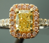 0.72ct Intense Yellow Cushion Cut Diamond Ring R5224