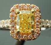 Yellow Diamond Ring: .72ct Fancy Intense Yellow Cushion Cut Diamond Halo Ring GIA  R5224