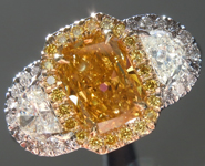 Orange Diamond Ring: 1.21ct Fancy Deep Brownish Orangy Yellow I1 Radiant Cut GIA Three Stone Halo R5226