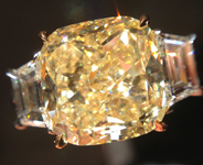 Three Stone Diamond Ring: 3.70ct Fancy Light Yellow SI2 Cushion Cut GIA Trapezoid R5235