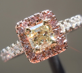Yellow Diamond Ring: .30ct Y-Z SI1 Radiant Cut Pink Diamond Halo Ring R5196