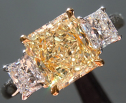 Yellow Diamond Ring: 1.61ct Y-Z, Natural Light Yellow VS2 Three Stone Ring GIA R4536