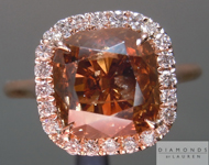 Brown Diamond Ring: 3.55ct Fancy Dark Orangy Brown I1 Cushion Cut GIA Halo Ring R5081