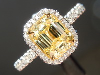 Yellow Diamond Ring: 1.22ct Fancy Intense Yellow VS1 Emerald Cut GIA Single Cut Halo R5239