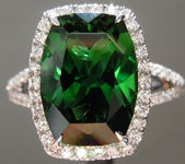 SOLD......Tourmaline Ring: 4.00ct Precision Cut Rectangular Cushion Chrome Tourmaline Halo Ring R3891
