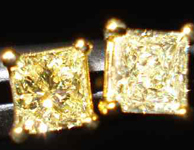 Yellow Diamond Earrings: .44cts Fancy Yellow VS Princess Cut Diamond Stud Earrings R2027