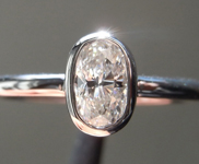 Colorless Diamond Ring: .37ct G VS2 Oval Shape Bezel Set Ring R5195