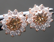 Brown Diamond Earrings: .39cts Fancy Yellow Brown Round Brilliant Diamond Halo Earrings R5140