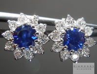 Sapphire Earrings: .55cts Blue Round Brilliant Sapphires and Diamond Halo Earrings R5012
