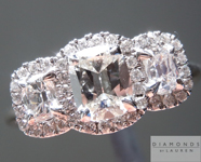 SOLD...Colorless Diamond Ring: .88cts E VS1 Cushion Cut Three Stone Diamond Halo Ring Great Price R4161