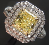 1.47ct Fancy Intense Yellow VS1 Radiant Cut Diamond Ring GIA R6431