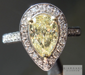 SOLD.....Yellow Diamond Ring: 1.01ct Fancy Yellow Si2 Pear Shape GIA Halo Ring R5237