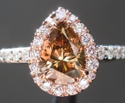 Brown Diamond Ring: .96ct Fancy Dark Orangy Brown SI2 Pear Brilliant GIA Pink Diamond Halo R5253