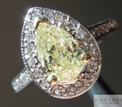 Yellow Diamond Ring: 1.06ct Fancy Light Yellow I1 Pear Shape Halo Ring Trade Up Special R5252