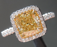 Yellow Diamond Ring: 1.69ct Fancy Light Yellow VS1 Cushion Cut GIA Halo Ring R5261