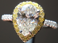 Diamond Ring: 1.00ct I VV2 Pear Shape GIA Fancy Yellow Diamond Halo R5222