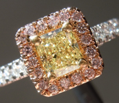 Yellow Diamond Ring: .62ct Fancy Light Yellow VS1 Radiant Cut GIA Pink Lemonade R5280