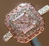 SOLD.....Purple Diamond Ring: .55ct Fancy Light Pinkish Purple I1 Radiant Cut GIA Double Halo R5302