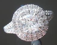 Colorless Diamond Ring: .72ct E VS1 Cushion Modified Brilliant GIA Split Shank Double Halo R5292