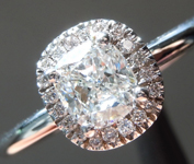 Colorless Diamond Ring: .55ct F VVS2 Cushion Modified Brilliant GIA Delicate Halo R5296