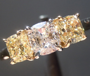 Colorless Diamond Ring: .51ct D VS1 Cushion Modified Brilliant GIA Three Stone Ring Fancy Yellow Side Stones R5313