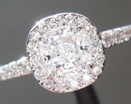 0.71ct D I1 Cushion Cut Diamond Ring R5316
