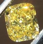 Loose Yellow Diamond: .66ct Fancy Vivid Yellow VS2 Cushion Modified Brilliant GIA Great Color R5312