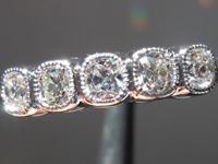 SOLD......Diamond Ring: .56cts D-E VS Old Mine Brilliant Five Stone Diamond Ring R5297