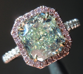 Green Diamond Ring: 2.29ct Fancy Yellow-Green SI1 Radiant Cut GIA Pink Diamond Halo R5332