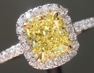 Yellow Diamond Ring: 1.21ct Fancy Intense Yellow SI1 Cushion Modified Brilliant Diamond Halo Ring GIA R5337