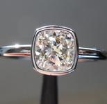 SOLD...Colorless Diamond Bezel Ring: 1.01ct J VS1 Cushion Cut GIA Beautiful Cut GIA R5233