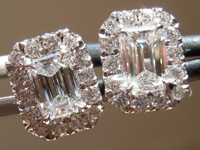 SOLD... Diamond Halo Earrings: .73cts F VS Emerald Cut Hand Forged Earrings R5341