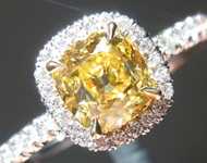 Old Mine Brilliant: .85ct Fancy Intense Yellow VS2 Branded DBL Old Mine Brilliant GIA Uber Halo R5299