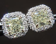 SOLD.... Yellow Diamond Earrings: 1.29cts W-X Radiant Cut Hand Forged Diamond Halo Earrings R5113
