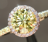 Yellow Diamond Ring: .92ct Fancy Intense Yellow VS2 Round Brilliant GIA Pink Diamond Halo R5351