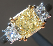 Yellow Diamond Ring: 1.06ct Fancy Light Yellow SI1 Three Stone Diamond Ring GIA R892
