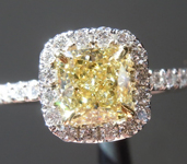 SOLD.....Yellow Diamond Ring: .92ct Fancy Yellow VS1 Cushion Cut Diamond Halo Ring GIA R5378