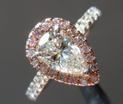 SOLD...Colorless Halo Diamond RIng: 1.02ct K VS1 Pear Shape GIA Beautiful Cut Pink Halo R5340