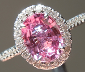 SOLD.... Sapphire Ring: 1.60ct Pink Cushion Cut Sapphire and Diamond Halo Ring R5350